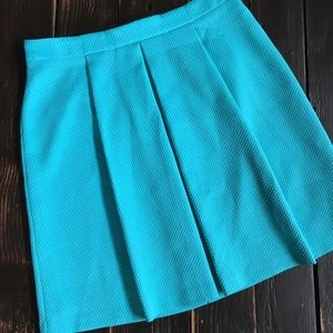 Turquoise Textured ALine Skirt with Large pleats